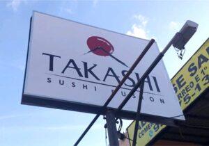 TAKASHI SUSHI FUSION – Placa Pirulito Existente com Lona Renovada em Policromia.